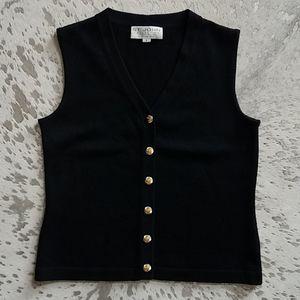 St.John Collection Vintage Gold/Silver Button Vest